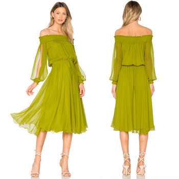 b3bba458027f Summer off shoulder dress plain silk long sleeve dress lady casual midi  dress
