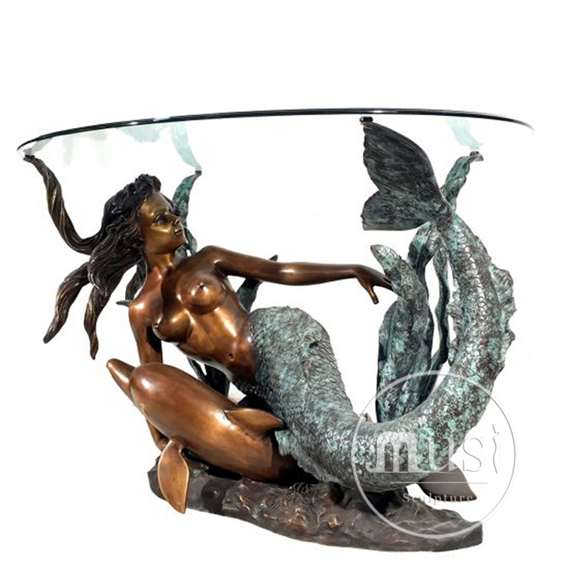 Modern Art Luxury Bronze Mermaid With Dolphin Coffee Table Base Sculpture