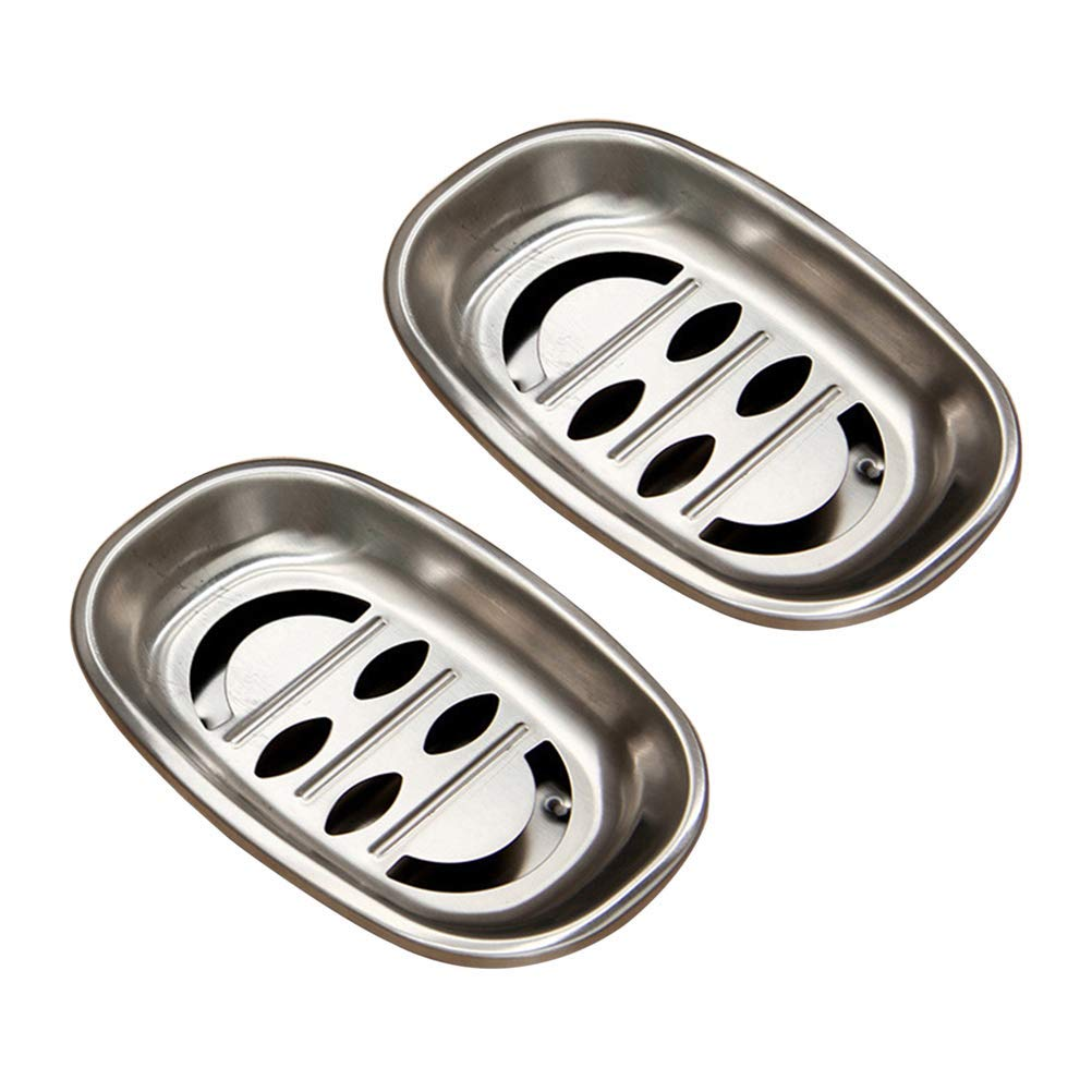 OUNONA 2pcs Double Layer Stainless Steel Soap Dish Tray Double Draining Soap Box Holder for Shower Bathroom Kitchen Oval Smiley
