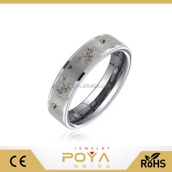Poya Jewelry 8mm Carved Dragon Tungsten Men Wedding Band Ring