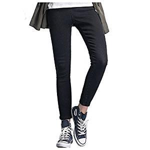 Women Jeans - SODIAL(R)Woman's Fashion Leggings Summer Autumn High Waist Elastic plus Size women Skinny jeans denim pants(Black,3XL/US-10)