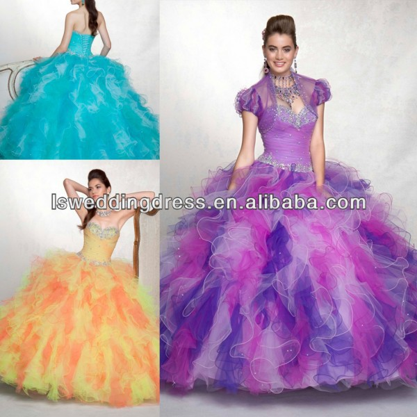 HQ2036 Bolero jacket strapless sleeveless heavy beded crystal layers tulle ball gown two tone ruffled quinceanera dresses