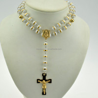 2016 fashion white and gold stainless steel silicone solid bead rosaries cross pendant necklace