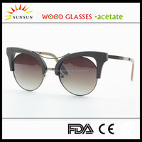 big frame fake wood sunglasses rimless cateye polarized glasses
