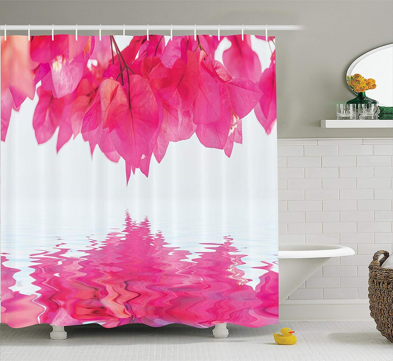 Shower Curtain Apartment Decor Set Bougainvillea Flowers Petals Projecting To The Water Exotic Spiritual Feminine Artprint, Bathroom Accessories, Hot Pink 60X72 Inch