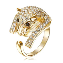 2017 new fashion crystal adjustable ring rhinestone baby panther ring