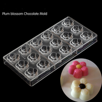 Fancy Plum Blossom Flower Chocolate Mold Baking Polycarbonate Candy Jelly Mould