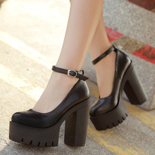 Free shipping 2015 new spring casual high-heeled shoes sexy ruslana korshunova thick heels platform pumps Black and White