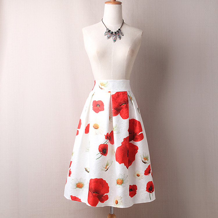 summer autumn fashion skirt style A-line  red floral printed zip-up high waist midi lady skirt