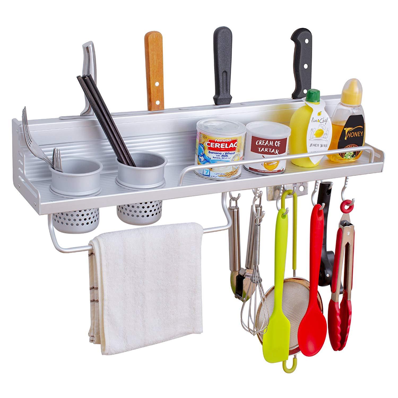HOVEXUN 23 inch Kitchen Utensils Holder Organizer Wall Mounted Pan Pot Rack,Spice Rack, Spoon Ladle Hanger,Knife block,Towel Rack,Silverware Caddy Space Aluminum (2 Cups 8 Hooks)