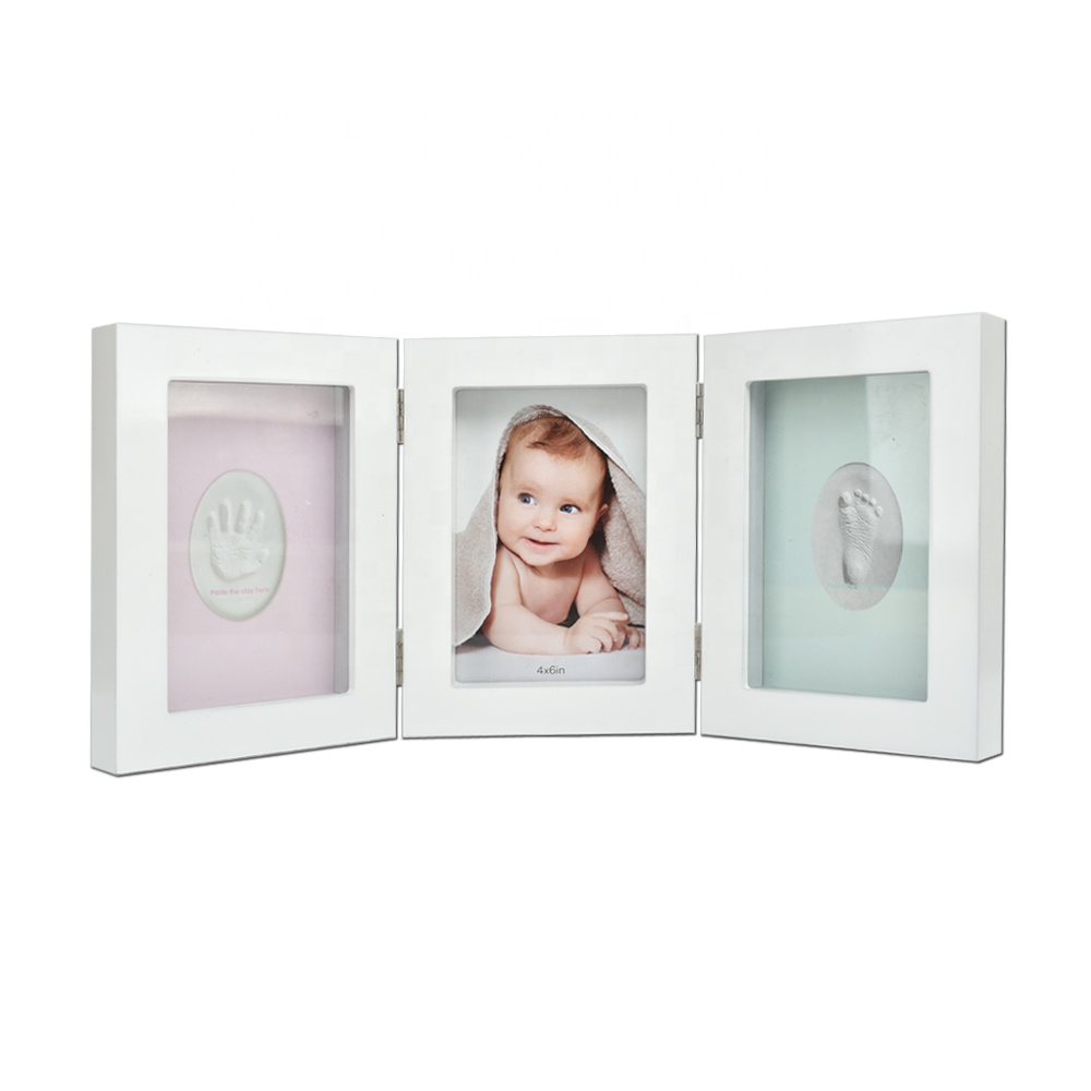 Gift Idea Bulk Handprint Kit First Year Shower Keepsake White Kids Baby Photo Frame