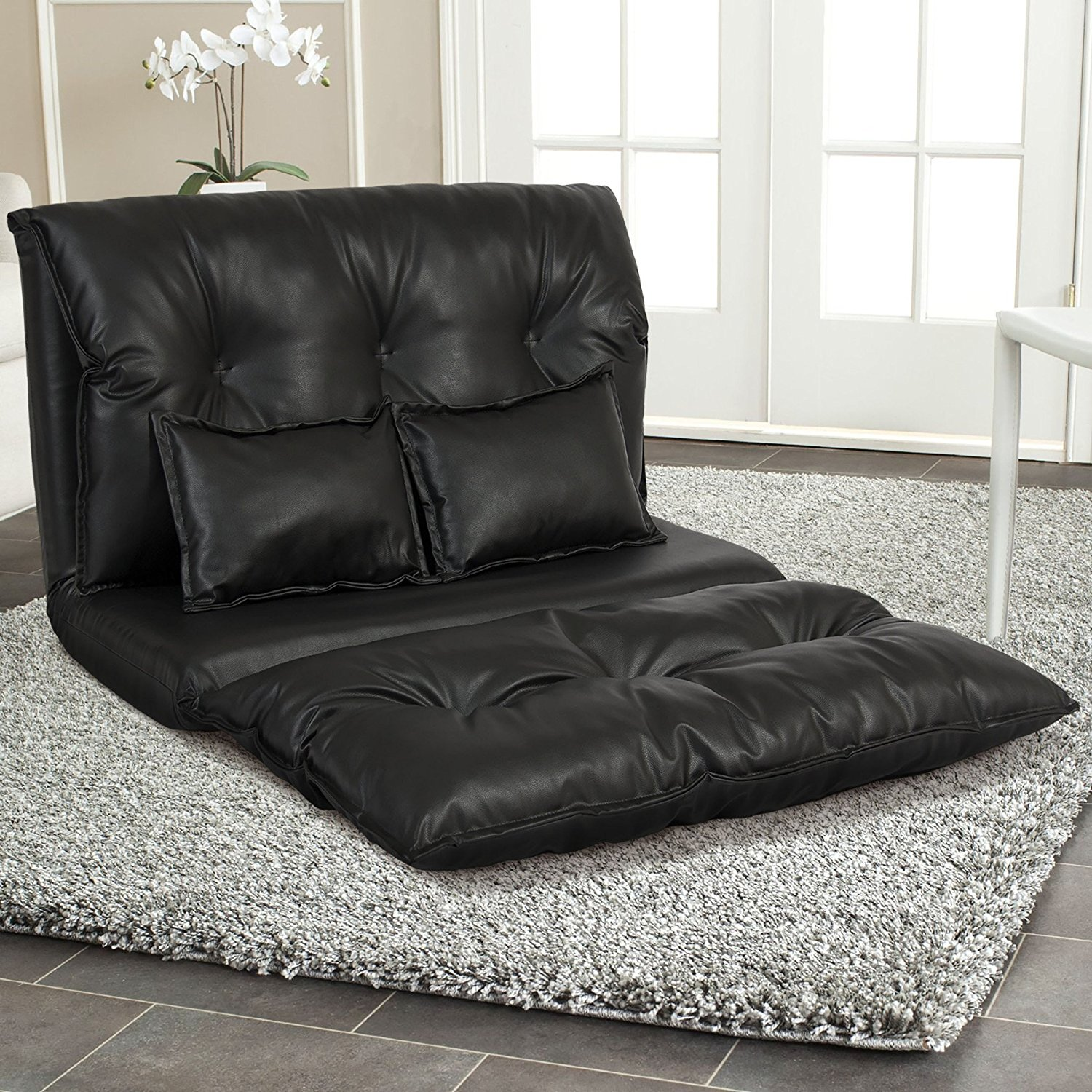 Get Quotations · PU Leather Foldable Modern Leisure Floor Sofa Bed Video  Gaming Sofa With Two Pillows, Black