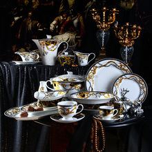 124 Pieces Luxury Fine Bone China dinnerware sets european