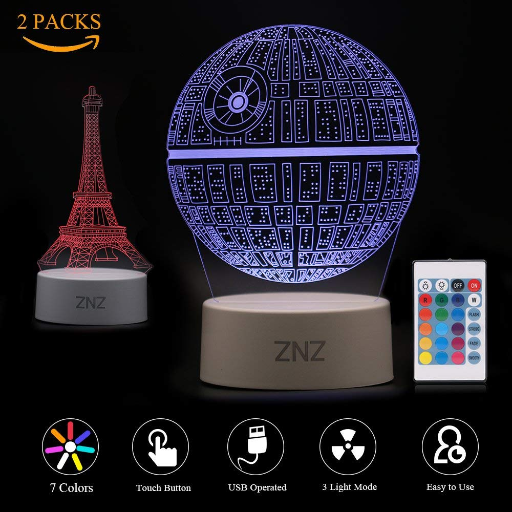 3D LED Lamp Night Light - ZNZ 7 Colors USB Operated Table Dimmable Night Light with Touch Switch Remote Control for Kids, 3D Light Optical Illusions Desk Lamp for Room Decor (Death Star+Eiffel Tower)
