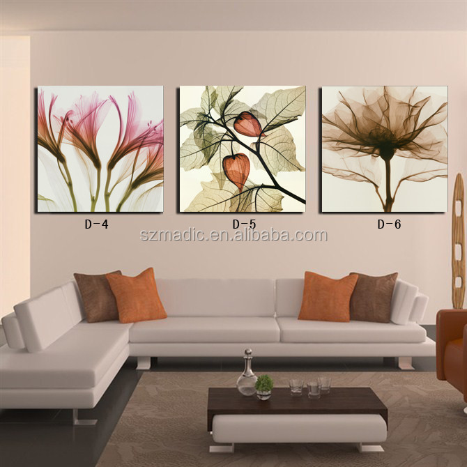 Abstract Wall Art Flower Canvas Painting 3 Panel Digital Prints <strong>Pictures</strong> for Room Decoration