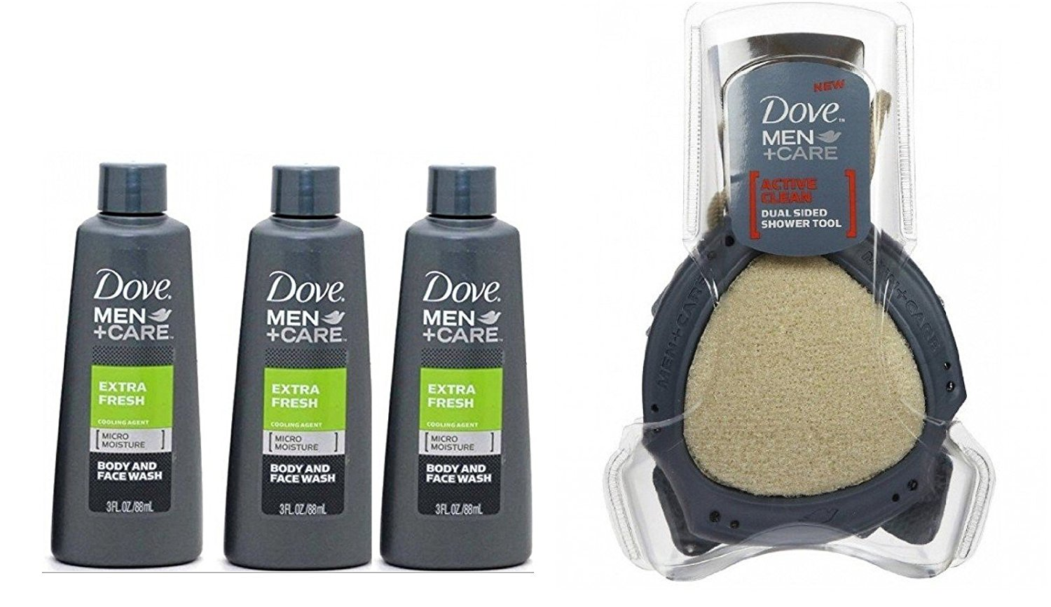 Dove Men + Care Extra Fresh Body and Face Wash 3 Oz Travel Size (Pack of 3) + Dove Men Care Shower Tool