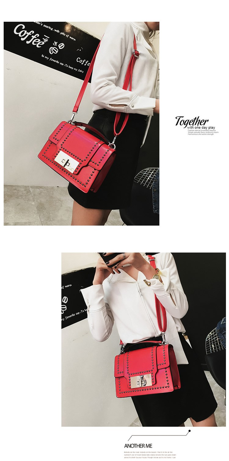 The spring of 2017 the new handbag fashion handbag han edition leisure rivet document packet single shoulder bag