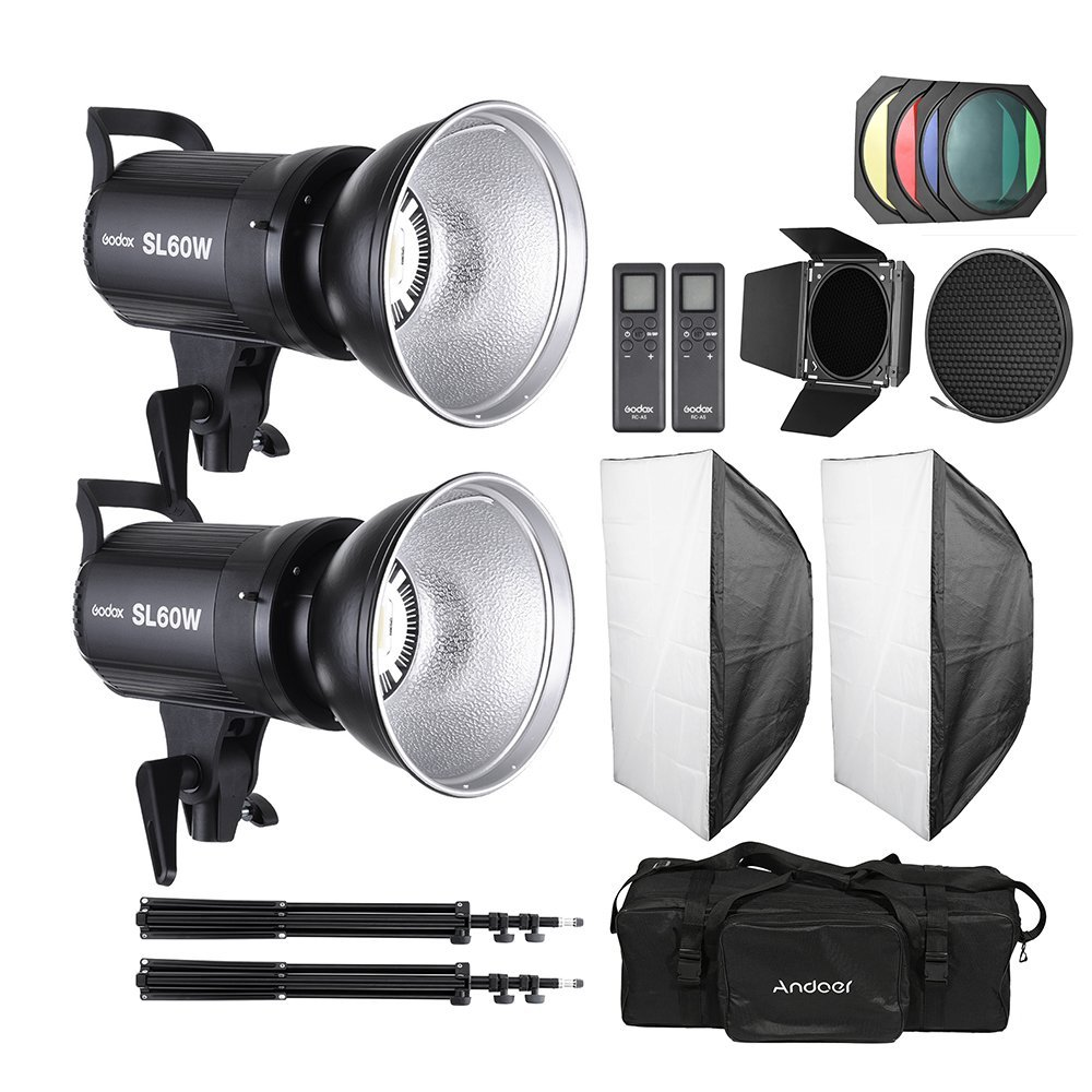 Andoer Studio Light Photo Set Strobe Kit including 2 Pcs Godox 60W LED Video Light + 2 Pcs 2M Light Stand Tripod + 2 Pcs Softbox + Barn Door Kit + Standard Lampshade Honeycomb+ Carrying Bag