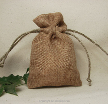 eco-friendly jute drawstring bag pouches for wheat, rice and coffee beans packing