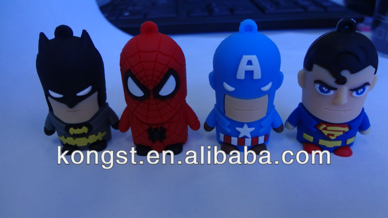 promotion gift lovely cartoon pvc super hero usb / spider-man usb 2gb/4gb/8gb factory lower price, shenzhen, china