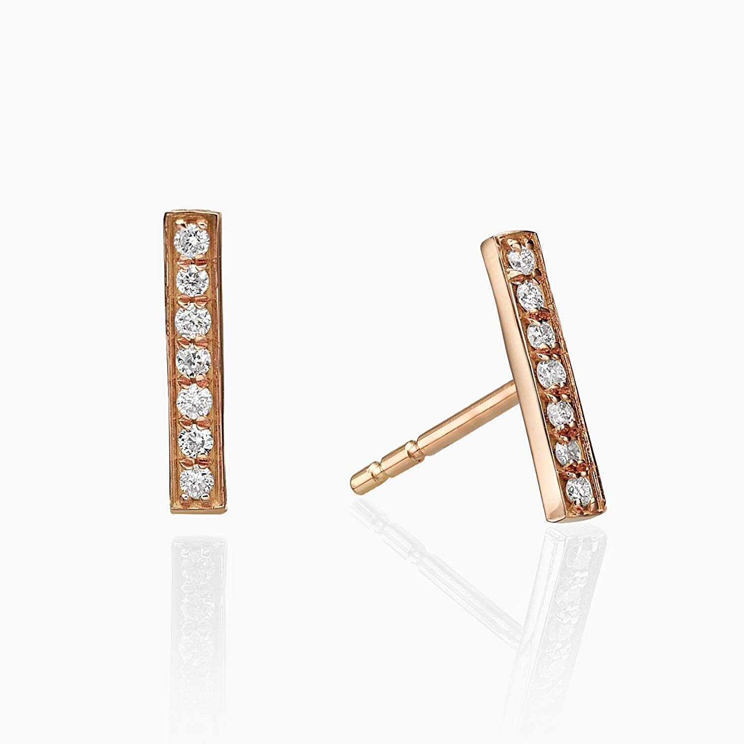 Get Quotations Gold Bar Diamond Stud Earrings Tiny