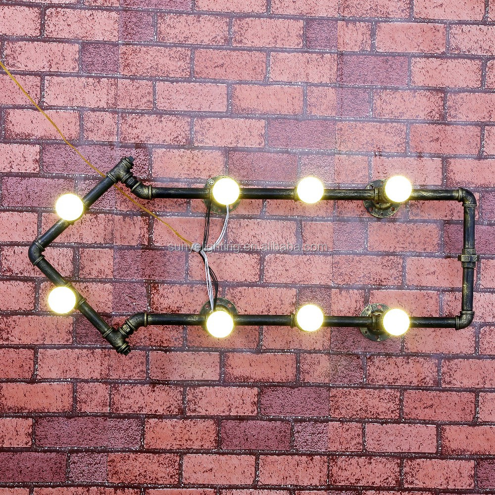 Wall Fixtures New Industrial Steampunk Wall Lamp Retro Light Rustic Vintage Loft Pipe Lighting Home Garden
