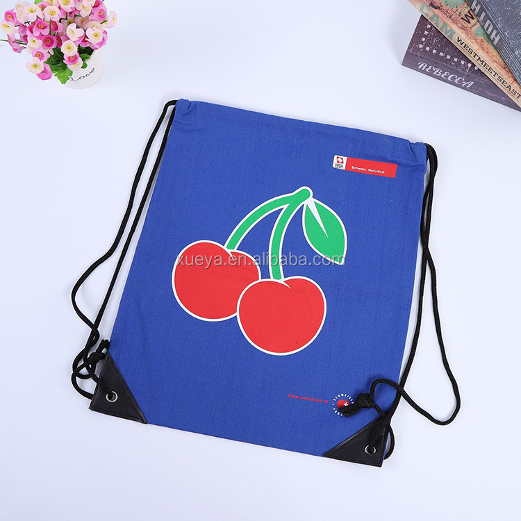 Strawberry Stylish Blue Color Canvas Drawstring Bag For Packaging