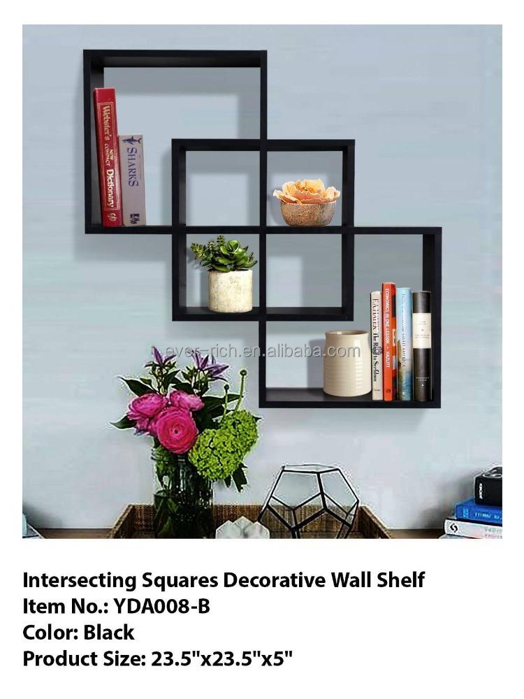 intersecting carr s tag res murales d coratives tag re murale en bois autres meubles en bois. Black Bedroom Furniture Sets. Home Design Ideas