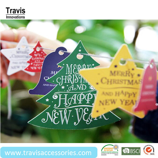 Wholesale Colourful Christmas Tree Card Hang Tag, Decoratied Bell Star Paper Labels