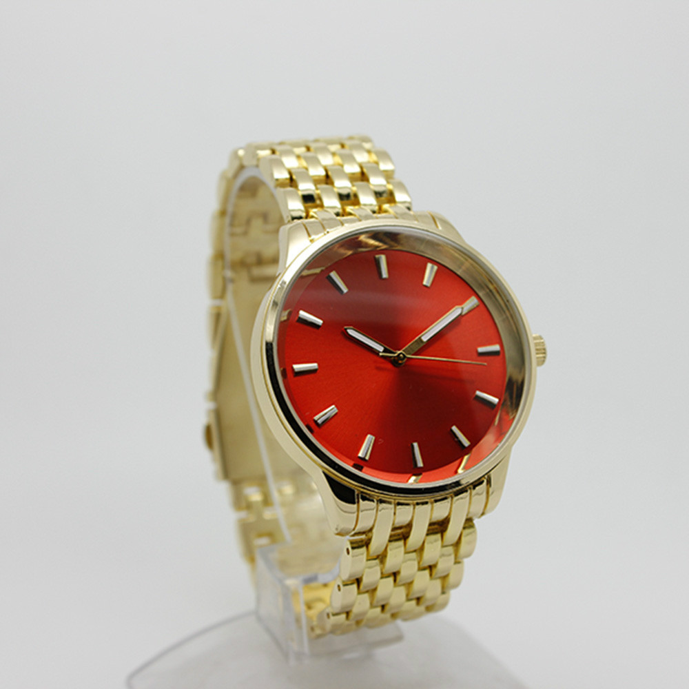 Unique design red watch face stainless steel watch japan movt watch women men