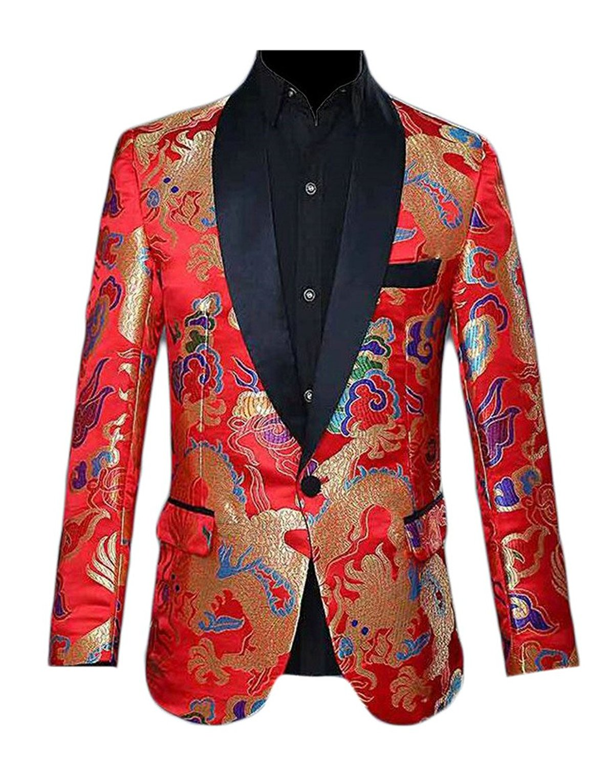 f8e4f01e8a54 Get Quotations · HTOOHTOOH Mens Spring Slim Fit Groom One Button Suit  Embroidery Printing Suit Blazers