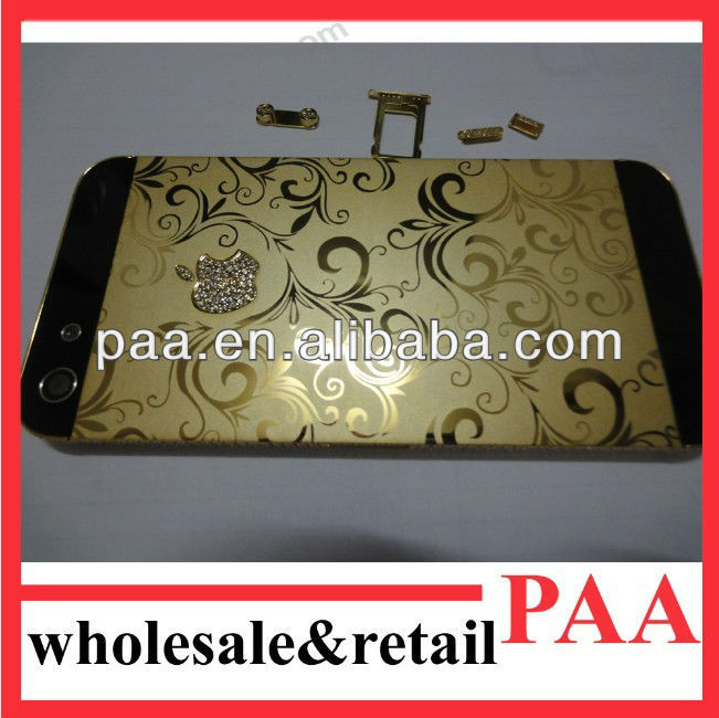 hot sale!!!for iphone5 plated 24k gold middle frame housing