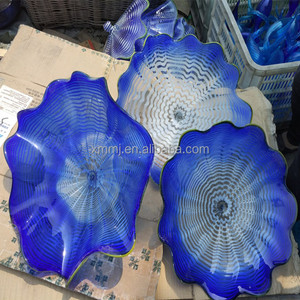 Decorative blue lotus flower glass plates flower wall art home decor
