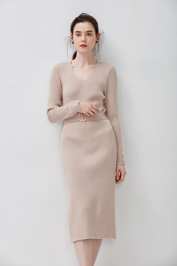 2019 Fall Winter Custom Woman ladies knitted tube side slit oversize long sleeve maxi Tunic Sweater Casual dresses for women