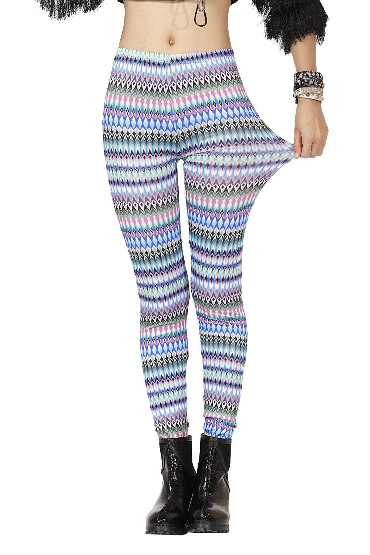 Pop Fashion Womens, Stretch, Diamond Striped. Printed Leggings, Tights, Multi Color Leggings, Teens Leggings, Fashion