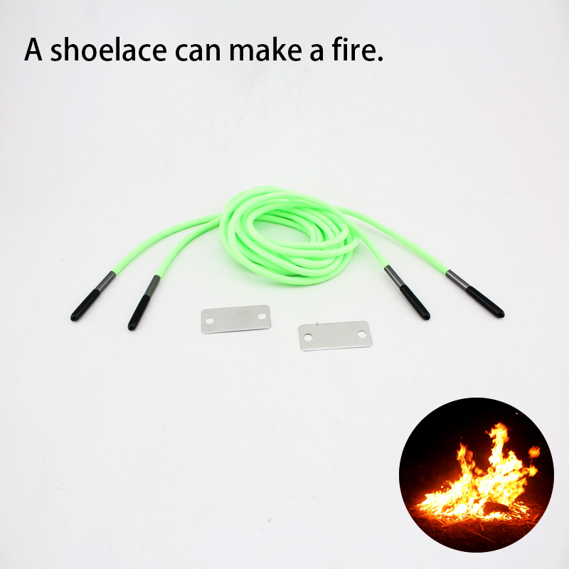 New arrival metal blade+lighter flint paracord light green shoe lace <strong>manufacturing</strong>
