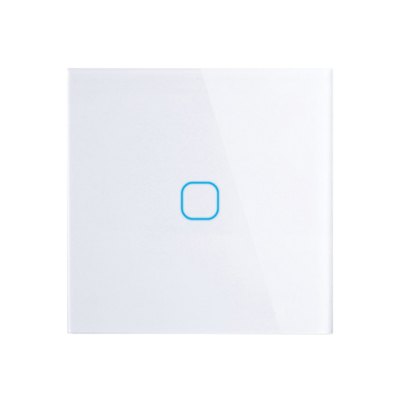 EU/UK standard Touch Switch White Crystal Glass Panel Touch Switch, AC220V, EU 1 Gang 1Way Light Wall Touch Screen Switch