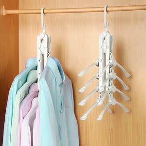 Multi-functional magic folding plastic clothes hanger for clothes 8 ranks set