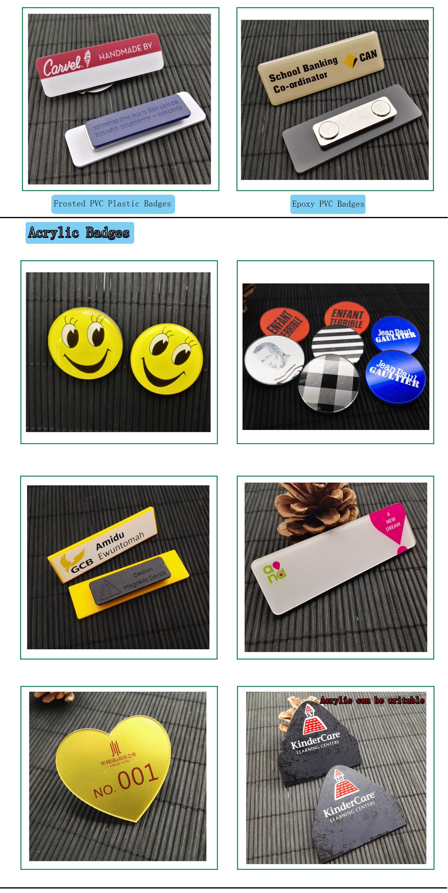 wholesale plastic magnetic reusable name badge with your own logo