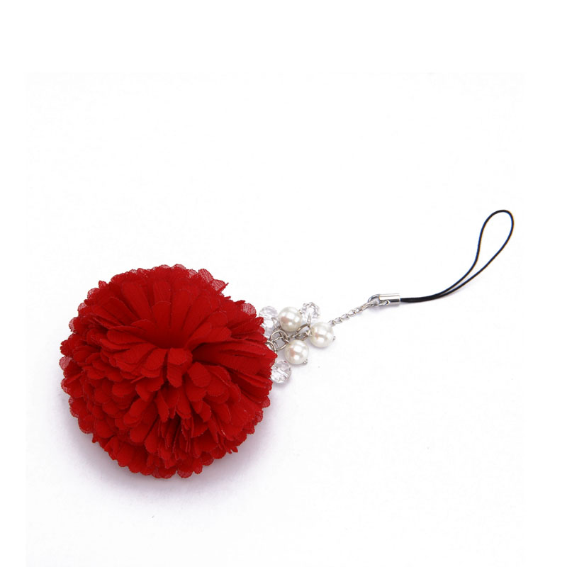 OEM fashion cheap colorful ful ball mobile phone chain for women