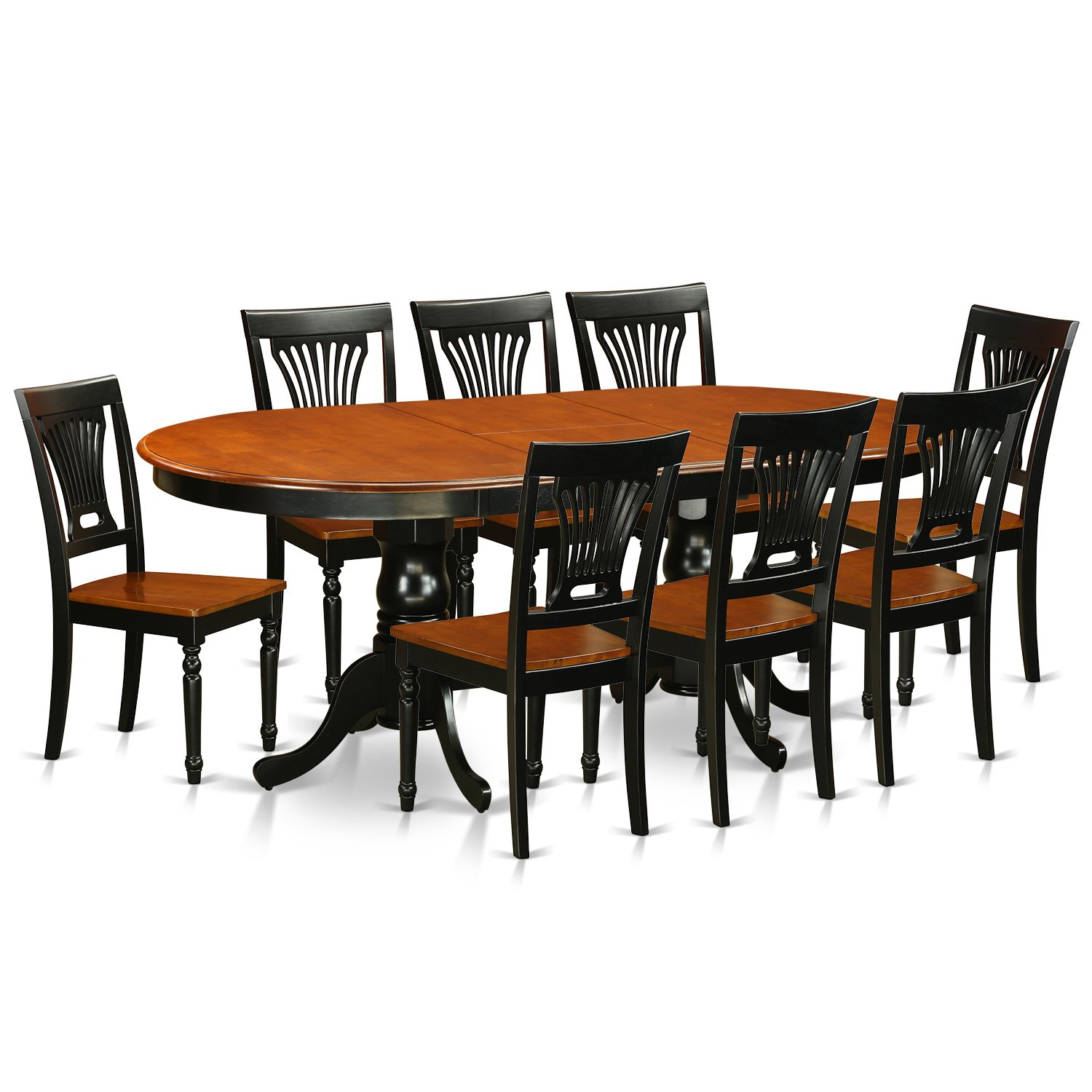 East West Furniture PLAI9-BLK-W 9 PC Dining Room Set for 8-Dining Table and 8 Chairs for Dining Room