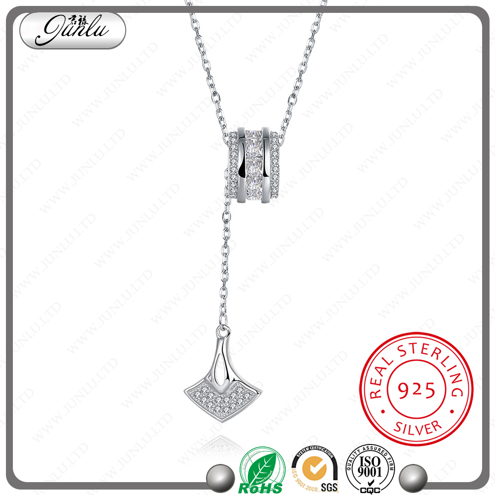 Anchor shaped design natural white zircon pendant necklace nice 925 sterling silver jewelry
