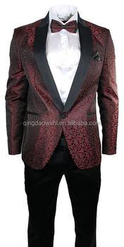 Mens Maroon Wine Black Paisley Pattern Suit Tuxedo Wedding Party Bow