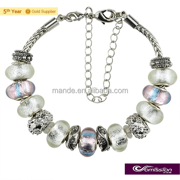 White&pink murano handmade lampwork silver foil glass beads bracelet , delicate metal beads bracelets gifts for best friends