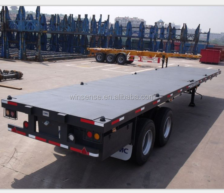truck and trailer dimension 3axle 40ft skeleton container semi trailer