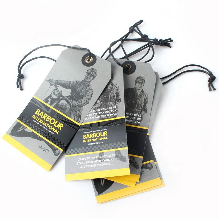 Cheap Custom Design Printing Name Logo Paper Garment Hangtag Labels Clothing Hang Tags with String