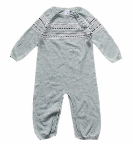 2014 autumn Big Joe Fresh children's wear sweaters Infant grey long-sleeved clothes covering all head jumpsuits rompers