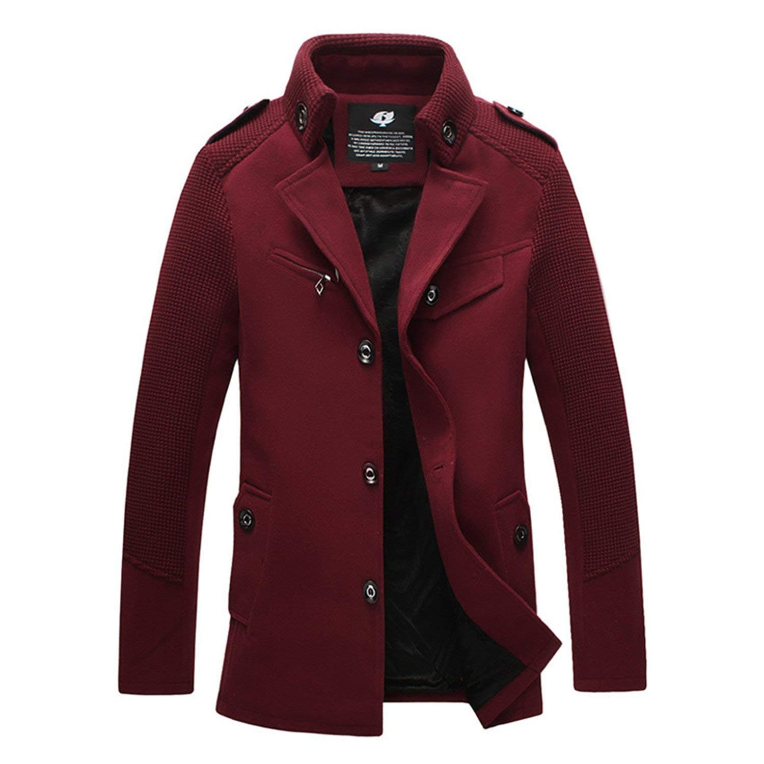 CrazyDay Mens Single-Breasted Casual Silm Fit Wool-Blend Pure Color Trench Coat Outwear