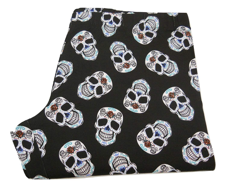 ce7b12d88ccf1a Get Quotations · No Boundaries Women Ankle Leggings Black Skulls Print Size  XL Inseam 28 Skinny Legs