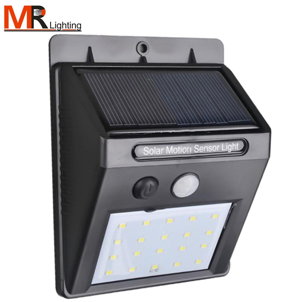 20 LED lumière solaire, applique murale solaire lampe à énergie solaire extérieure avec capteur de mouvement étanche